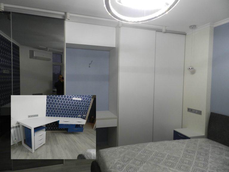 Мебель в спальне Кобальт и Белый